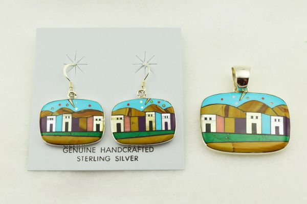 Sterling silver multi color inlay rounded rectangles adobe style earrings and pendant set. S296