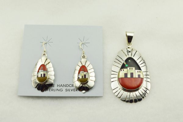 Sterling silver multi color inlay edged egg shape adobe style earrings and pendant set. S297