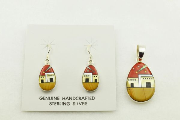 Sterling silver multi color inlay 2 door adobe style earrings and pendant set. S298