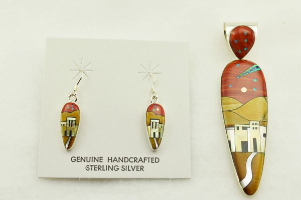 Sterling silver multi color inlay corn cob shaped adobe style earrings and pendant set. S299