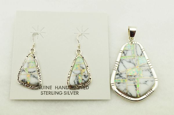 Sterling silver white opal and howlite inlay nugget shaped earrings and pendant set. S307