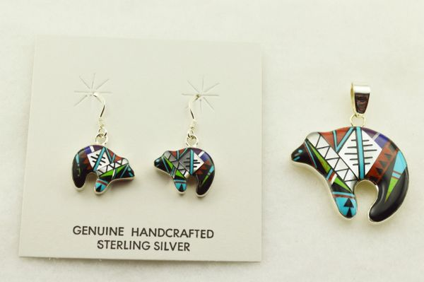 Sterling silver multi color inlay spirit bear earrings and pendant set. S310