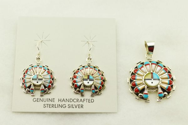 Sterling silver multi color inlay chief earrings and pendant set. S311