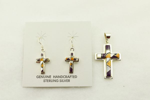 Sterling silver multi color inlay cross earrings and pendant set. S314