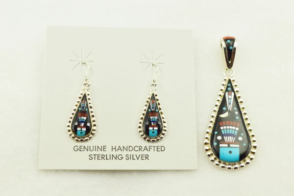 Sterling silver multi color inlay raindrop with edge earrings and pendant set. S315