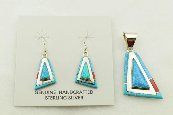 Sterling silver coral, blue opal and turquoise inlay fancy triangle earrings and pendant set. S317