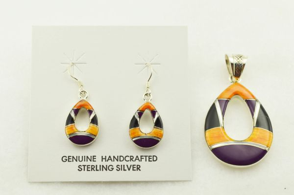 Sterling silver multi color inlay hollow oval earrings and pendant set. S319
