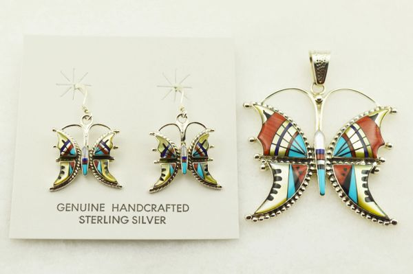 Sterling silver multi color inlay butterfly earrings and pendant set. S324