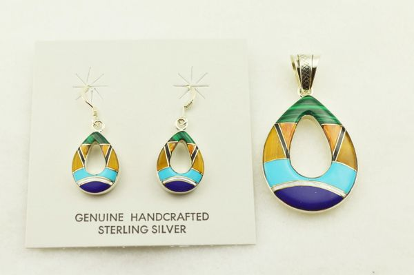 Sterling silver multi color inlay hollow oval earrings and pendant set. S325