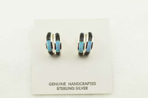 Sterling silver blue opal and black onyx inlay double hoop post earrings. E357