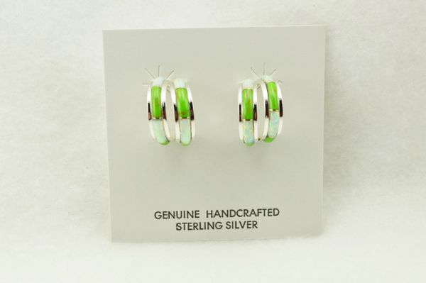 Sterling silver white opal and gaspeite inlay double hoop post earrings. E361