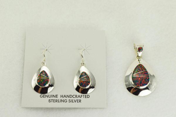 Sterling silver black opal inlay teardrop dangle earrings and pendant set. S327