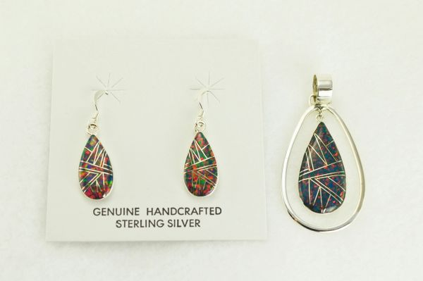 Sterling silver black opal inlay teardrop in hoop with dangle earrings and pendant set. S328