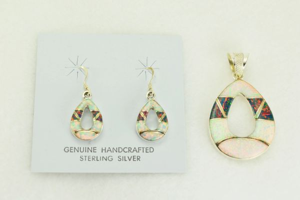 Sterling silver white and black opal inlay hollow teardrop dangle earrings and pendant set. S329