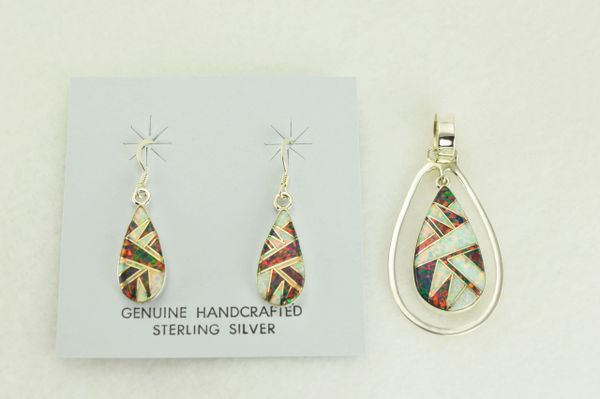 Sterling silver white and black opal inlay teardrop in hoop dangle earrings and pendant set. S330