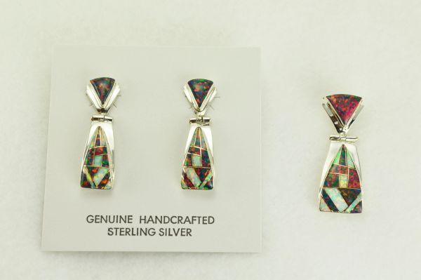 Sterling silver white and black opal inlay triangle shaped post earrings and pendant set. S331