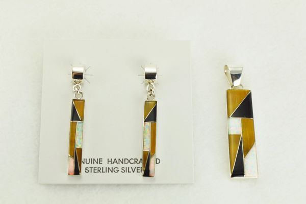 Sterling silver white opal, tiger eye and black onyx inlay rectangle post earrings and pendant set. S337