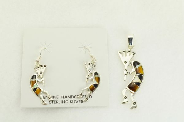 Sterling silver white opal, tiger eye and black onyx inlay kokopelli dangle earrings and pendant set. S343