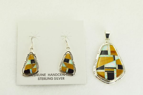 Sterling silver white opal, tiger eye and black onyx inlay nugget shaped dangle earrings and pendant set. S344