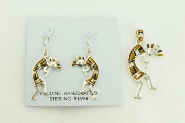 Sterling silver white opal, tiger eye and black onyx inlay kokopelli dangle earrings and pendant set. S345