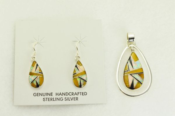 Sterling silver white opal, tiger eye and black onyx inlay raindrop in a hoop dangle earrings and pendant set. S346