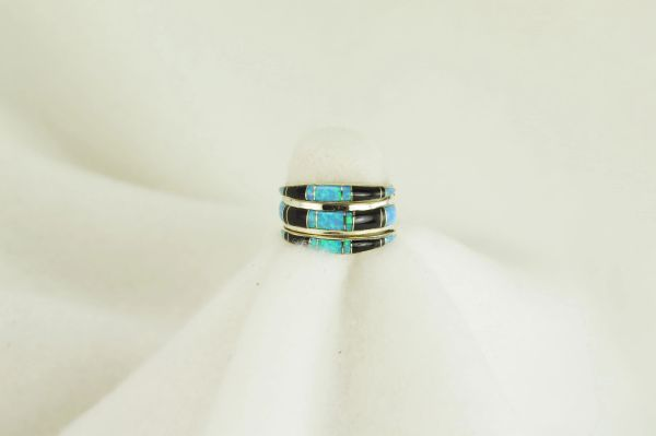 Sterling silver black onyx and blue opal inlay ring. R002