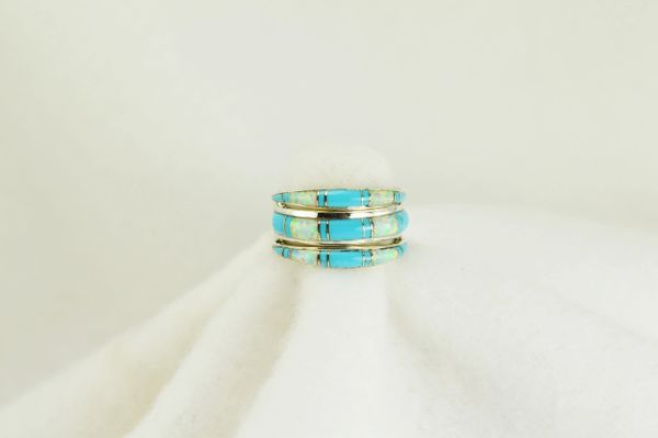 Sterling silver white opal and turquoise inlay ring. R007