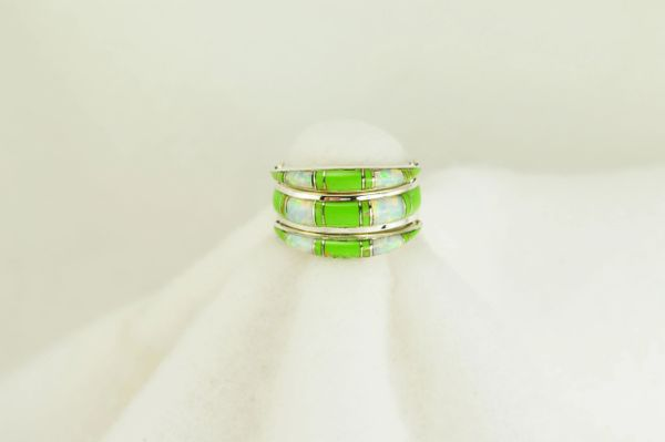 Sterling silver white opal and gaspeite inlay ring. R008