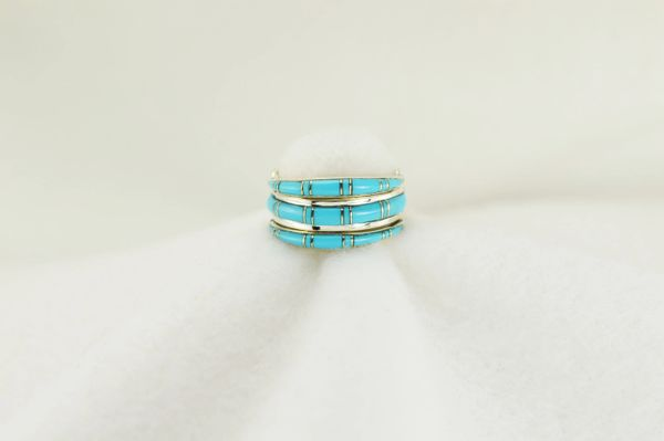 Sterling silver turquoise inlay ring. R010
