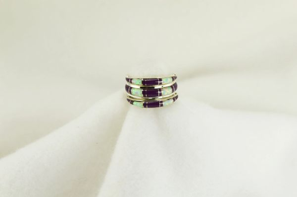 Sterling silver white opal and sugilite inlay ring.  R011