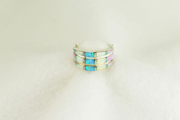 Sterling silver white opal, blue opal and pink opal inlay ring.  R014