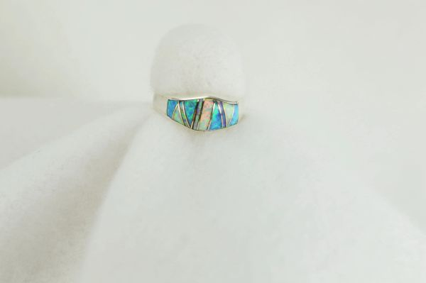Sterling silver blue opal, pink opal and white opal inlay ring. R015