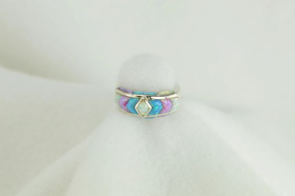 Sterling silver blue opal, pink opal and white opal inlay ring. R017