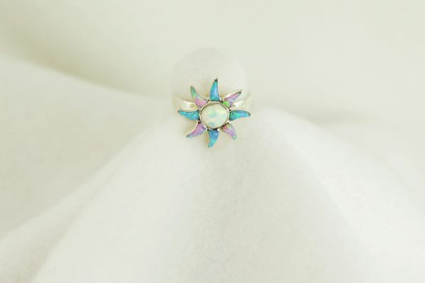 Sterling silver blue opal, pink opal and white opal inlay ring. R020