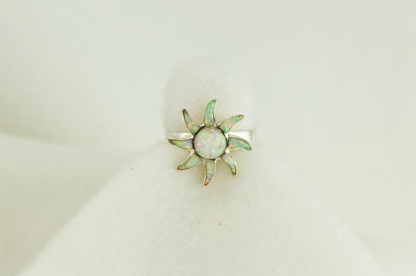 Sterling silver white opal inlay ring. R023