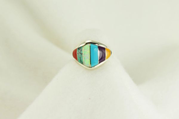 Sterling silver multi color inlay ring. R028
