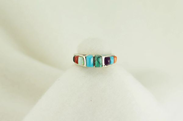 Sterling silver multi color inlay ring. R031
