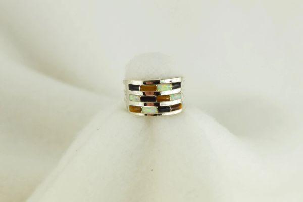 Sterling silver tiger eye, black onyx and white opal inlay ring. R034