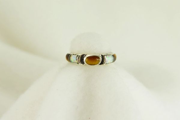 Sterling silver tiger eye, black onyx and white opal inlay ring. R035