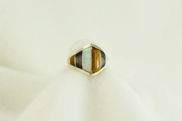 Sterling silver tiger eye, black onyx and white opal inlay ring. R037