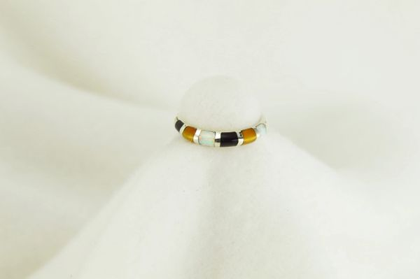 Sterling silver tiger eye, black onyx and white opal inlay ring. R040