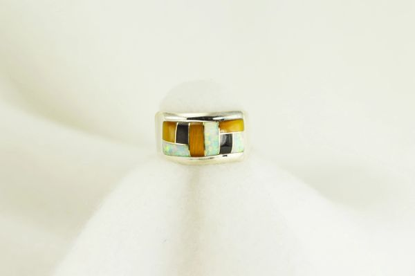 Sterling silver tiger eye, black onyx and white opal inlay ring. R041