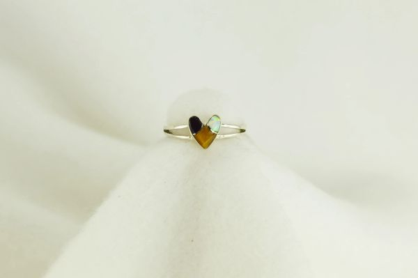 Sterling silver tiger eye, black onyx and white opal inlay ring. R044