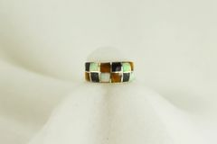 Sterling silver tiger eye, black onyx and white opal inlay ring. R047