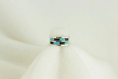 Sterling silver black onyx and blue opal ring. R054