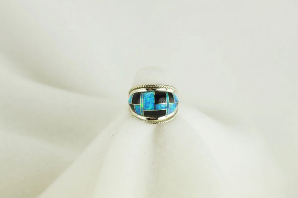Sterling silver black onyx and blue opal inlay ring. R055