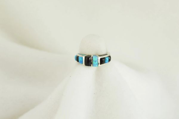Sterling silver black onyx and blue opal inlay ring. R056