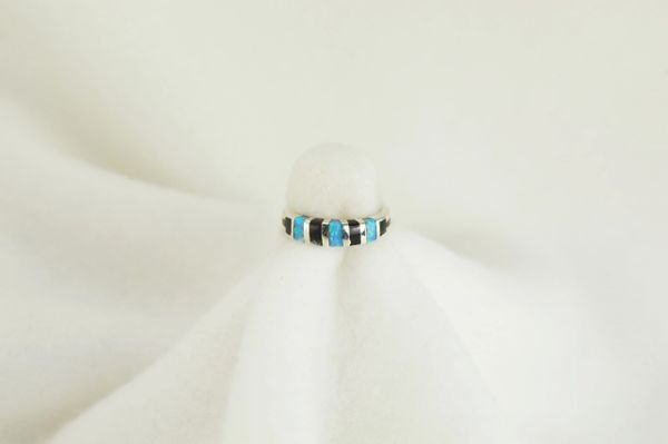 Sterling silver black onyx and blue opal inlay ring. R057