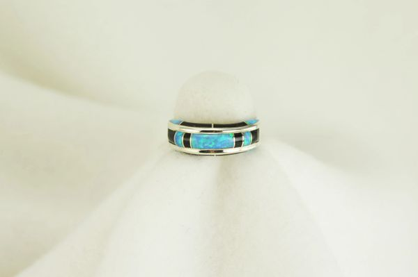 Sterling silver black onyx and blue opal inlay ring. R059