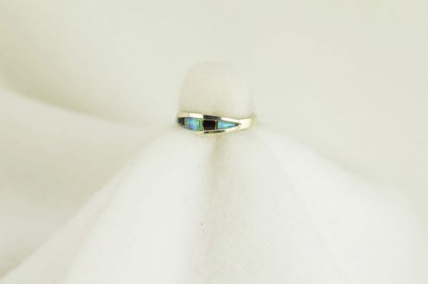 Sterling silver black onyx and blue opal inlay ring. R061
